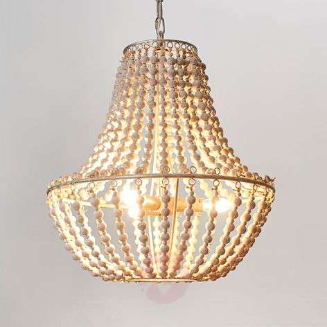 Chandelier Juliette with white wooden beads