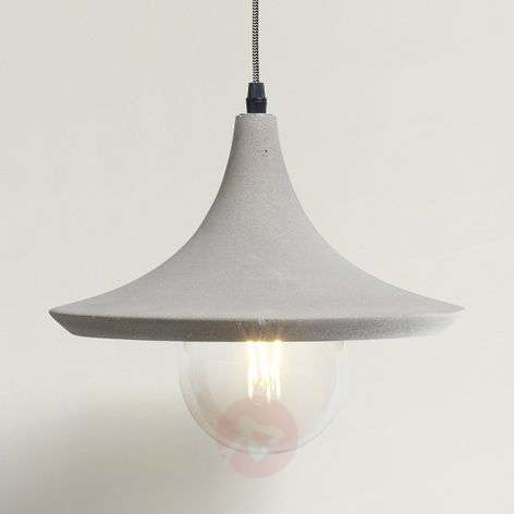 Cheerful hanging light Lito w. concrete lampshade