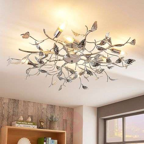 Chrome ceiling lamp Yos with numerous metal leaves