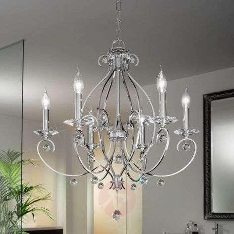 Chrome-coloured chandelier CARAT, 6-bulb