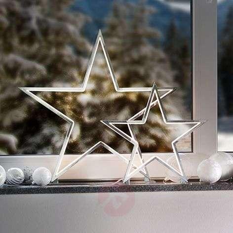 Chrome-coloured decorative star light Lucy, 33 cm