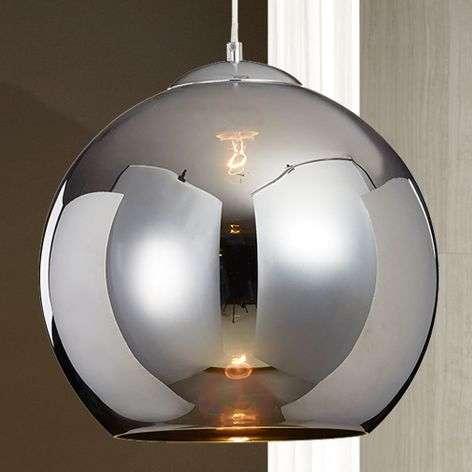 Chrome-coloured Esfera hanging light w.glass shade