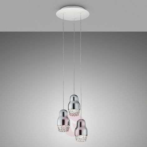 Chrome-coloured LED hanging light Fedora 3-bulb