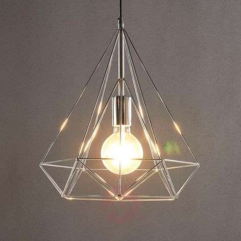 Chrome-plated pendant light Nael in cage shape