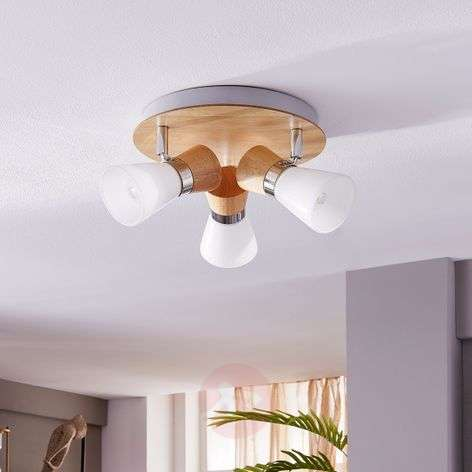 Circular ceiling spotlight Vivica, wooden elements