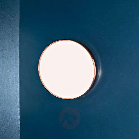 Clara flat LED ceiling light with a copper ring