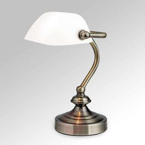 Classic banker's table lamp Zora, glass lampshade
