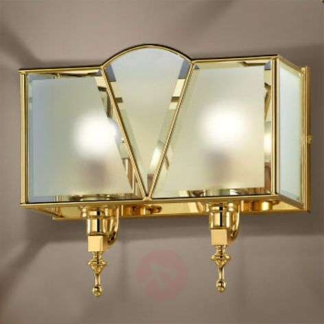 Classic two-bulb wall light, gold