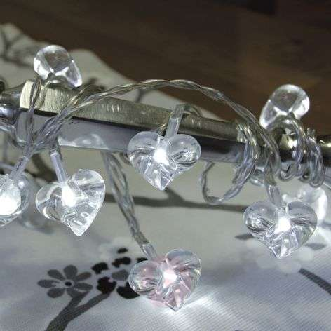 Clear LED string lights Small Hearts 10-piece