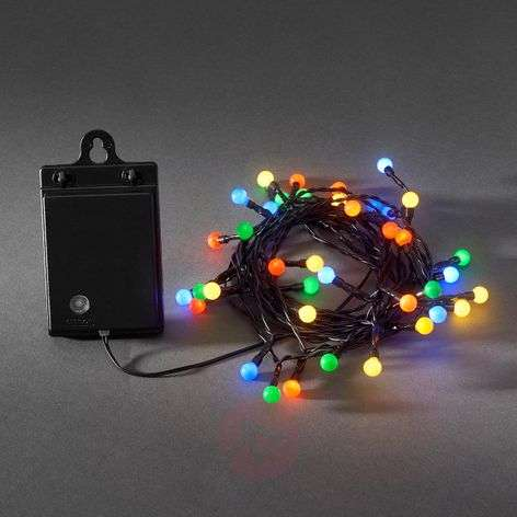 Colourful 40-bulb LED string lights RGB, batteries