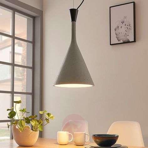 Concrete grey pendant lamp Flynn, cone form