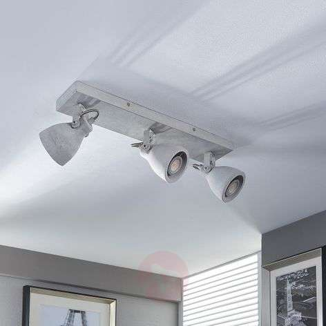Concrete LED ceiling light Kadiga, 3 bulbs