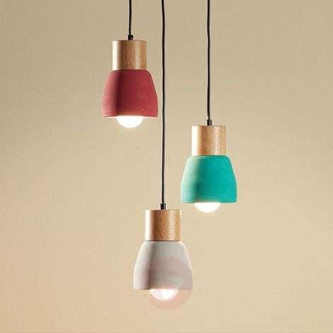 Concrete pendant light Margot with wood, 3-bulb