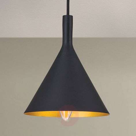 Cone-shaped hanging lamp Gunda in black and gold-7255356-31