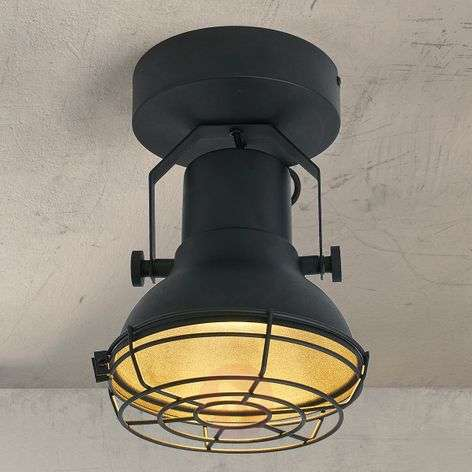 Conner black LED ceiling lamp with mesh