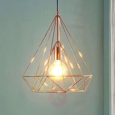 Copper-coloured cage pendant light Jossa
