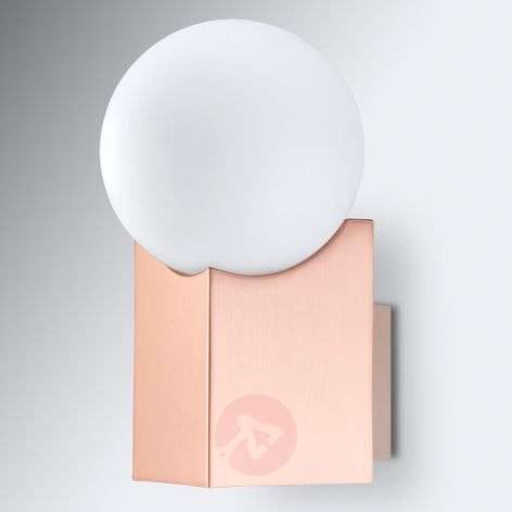 Copper-coloured wall light Cub with glass ball