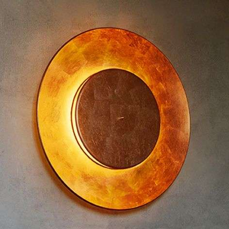 Copper leaf-plated wall light Lunaire 75 cm