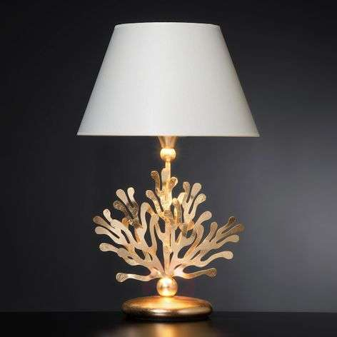 Coral fabric table lamp with gold leaf