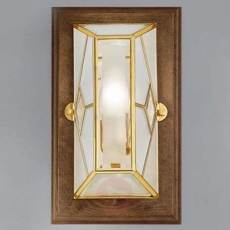 Cordana - square wall lamp with wooden frame