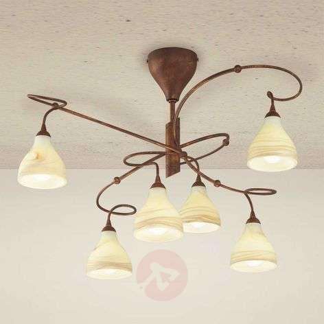 Country house ceiling light Mattia, 6-bulb