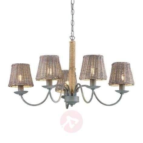 Country-rustic hanging lamp Rotin five-bulb