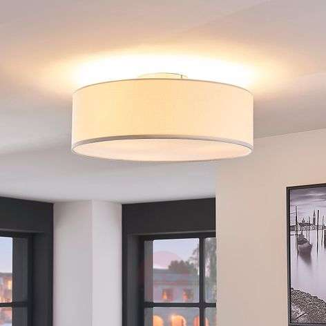 Cream-coloured fabric ceiling light Sebatin