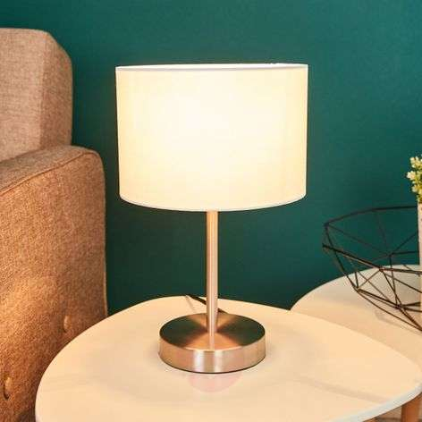 Cream-coloured fabric lampshade - table lamp Risa