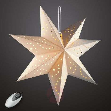 Cream-coloured LED paper star Hilla