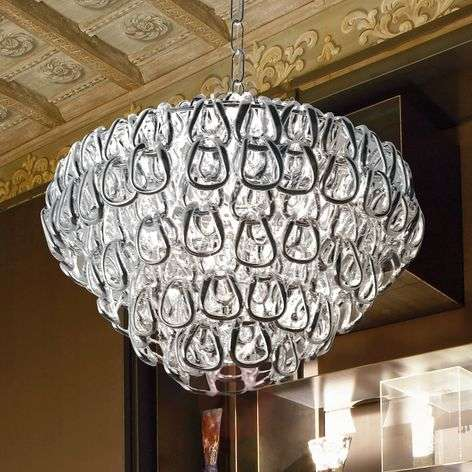 Crystal glass hanging light MINIGIOGALI, chrome