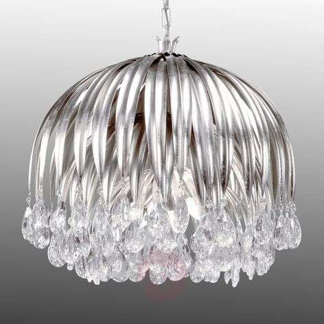 Crystal hanging light Floralis silver leaf 60 cm