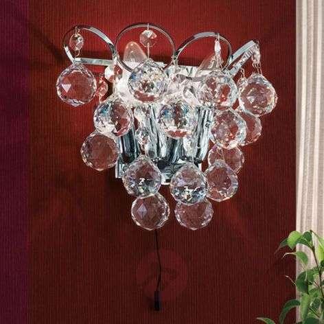 Crystal wall light Auguste, chrome-plated