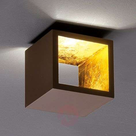 Cube-shaped LED ceiling light Cubò, brown, gold