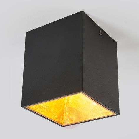 Cube-shaped LED ceiling light Juma, black and gold