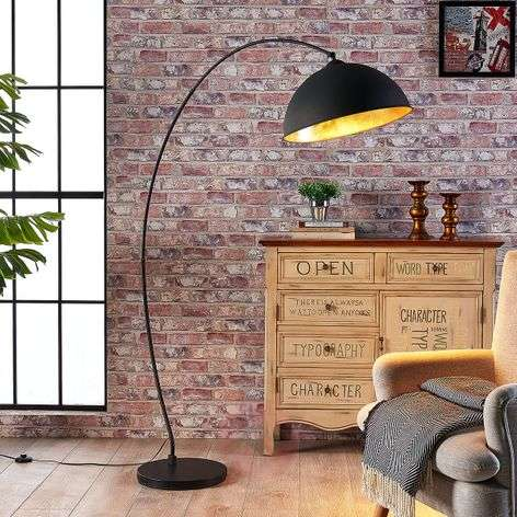 Curved floor lamp Jonera, black and gold-9621154-32