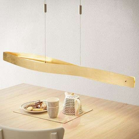 Curved LED hanging light Lian with a golden look