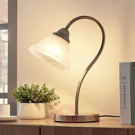 Curved table lamp Mialina with an E27 LED