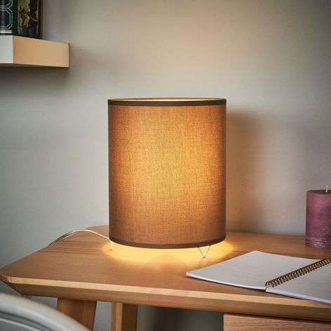 Cylindrical grey fabric table lamp Leander