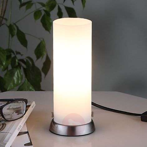 Cylindrical LED table lamp Andrew, made of glass