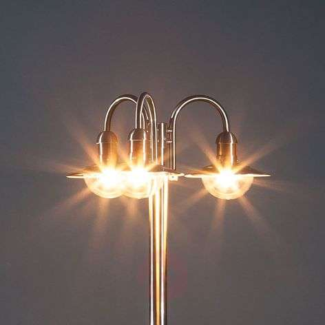 Damion three-bulb stainless steel post light