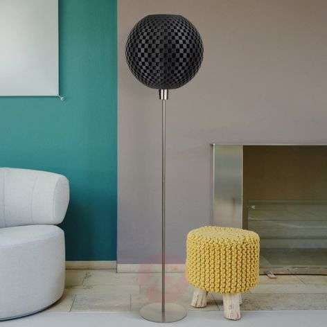 Dark Flechtwerk designer floor lamp, spherical