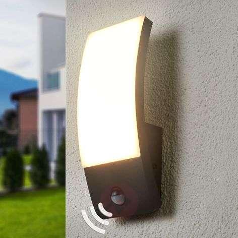 Dark grey LED outdoor wall light Siara with sensor