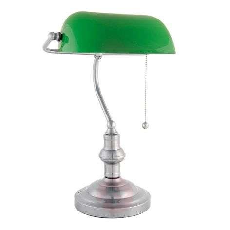 Decorative banker lamp Verda with a nickel base-6064122-31