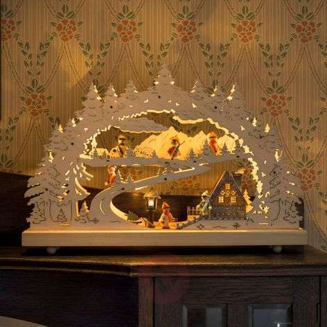 Decorative LED candle arch Snow-covered Landscape