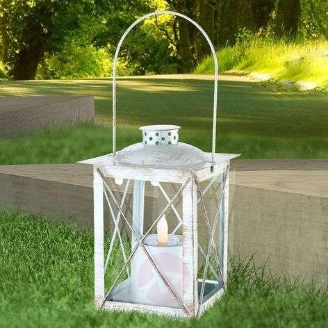 Decorative solar lantern white gold patinated