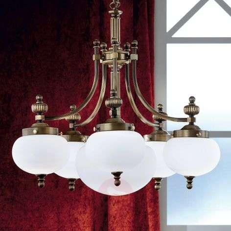 Delia Hanging Light Elegant Six Bulbs Old Brass