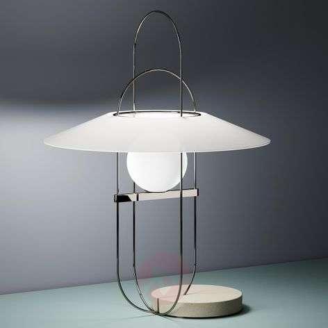 Delicate LED table lamp Setareh, chrome and white