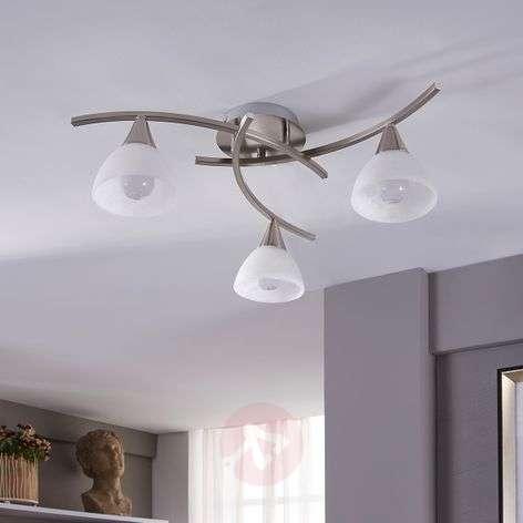Della LED ceiling light, matt nickel, 3-bulb