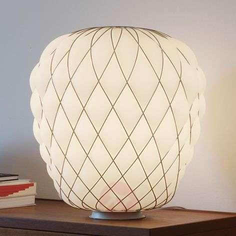 Designer table lamp Pinecone made of milky glass
