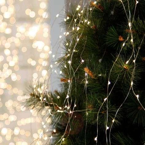 Dew Drops LED string lights for indoors, 125-bulb